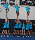 The cheerleaders do a stunt at the pep rally photo by Maddie Gear