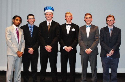 Contestants for the annual Mr. Rockland Competition were seniors left to right: Cornell McWilliams, Leo Field, Ryan Leavitt, Jeff Donahue, Adam Royle and Evan Murphy. photo by