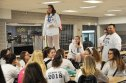 Junior class president Hannah Boben leads the class meeting before the rally. photo by Jayanna Parham