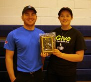 Matthew Bille and Megan Langley of Domino's hold their plaque for Kids' Choice at Pizzapalooza. Veritas photo.