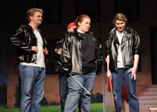 Michael Bodley (Doody), Morgan Foster (Putzy), Kellie Berry (Sonny) and Shandi Austin (Kenickie).