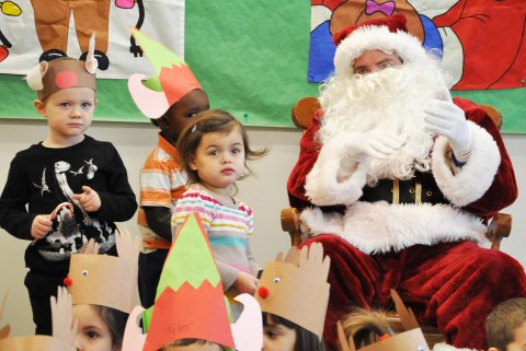 Santa Claus visited the preschool on Tuesday.