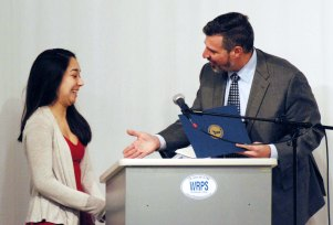 Dr. Alan Cron, Superintendent of Schools and RHS senior, Luana Lima. Veritas photo