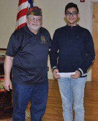 Jad Bendarkawi, a freshman at Rockland High School received a 2nd place award in the Voice of Democracy contest sponsored by the VFW. With Jad is Old Colony Post 1788 Voice of Democracy Chairman Jeffrey Najarian. Veritas photo