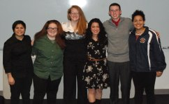Reciting poems at the 12th Annual Poetry Out Loud Contest on Friday night, Jan. 20 at Rockland High School were from left: Rebekah Panaro, Kellie Berry, Eden Dalton, Genesis Rojas, John Ellard and Adiza Alasa. Rojas, Alasa and Ellard placed 1st, 2nd and 3rd respectively. photo by Austin Woods