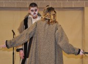 The ghost of Banquo (Aiden Glennon) confronts Macbeth (Shandi Austin).