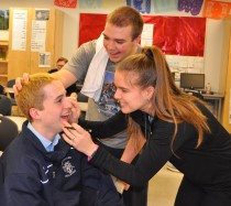 Emily Beatrice starts the make-up work on Matty O'Brien who will play Thisbe. Mike McPeck approves