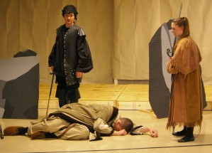 Murderers Adam Dalton and Sabrina Sprague stand over the body of Banquo (Aidan Glennon)