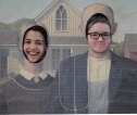 "Francisco Oliviera and Molly Boggs parody Grant Woods' painting ""American Gothic"""
