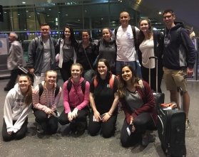 Getting ready to board their plane from Boston on April 15 are the twelve Rockland students who spent their April vacation on a service trip to Guatemala. Left to right are: Jake Leander, Dana Peck, Natalie Draicchio, Grace Oliver, Mo Youssef, Stephanie Blaney, and Matt Rocha. Front l to r: Sabrina Sprague, Olivia Soletti, Hope Geary, Saoirse McNally and Renata Batista. Courtesy photo.