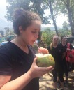 Junior Stephanie Blaney enjoys a fruit drink. Courtesy photo