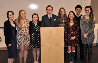 Left to right: Jurnee Dunn, Jessica Lutts, Sophie McLellan, Evan Murphy, Emily Delaney, Luana Lima, Michael Belmonte and Lauren Zaremba. These eight seniors were the finalists in the Spellman Oratorical Contest on Weds. April 5. Veritas photo