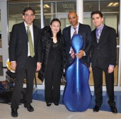 Max Levinson, Xin Ting, Owen Young and Daniel Getz, four of the five members of the Boston Symphony Orchestra who gave a community concert on April 30.