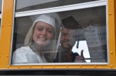 Ali Sammon and Devin Donnelly are on the bus after visiting Memorial Park Elementary School on Wednesday, May 31. Members of the senior class visited all three elementary schools in Rockland as a group.