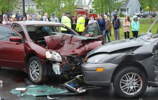 Two cars were provided for the mock accident on Monday, May 15.