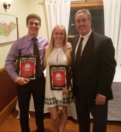 Matt Dunn and Julia DiCienzo were honored as Scholar-Athletes of the Year by the South Shore League Athletic Directors. Right is AD Gary Graziano.