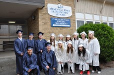 Rockland High School seniors visited their former school on Wednesday, May 31. From left back row: Matthew Rocha, Richard Pattison, Josh Cipriano-Rich, Taylor Gallagher, Mariah Richards, Megan Saucier, Morgan Foster, Isabella Pica, Jackie Malloy. Front: Renato Saiter-Frois, James Sheehan, Colleen Burke, Kelsey Willett, and Genesis Rojas.