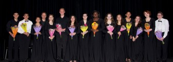 Seniors in the band and chorus received flowers from the parents' band boosters. From left: Michael Belmonte, Sean Vo, Vivian Nguyen, Mr. John Piazza, band director, Morgan Foster, Jeffre Donahue, Genesis Rojas, Lauren Zaremba, Kimberlie Jean-Poix, Taylor Vernava, Luana Lima, Tatiana Hill, Sophie McLellan, Jurnee Dunn, Shandi Austin. Veritas photo