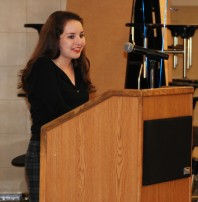 Sophie McLellan gives her farewell speech on the night of the drama banquet.