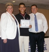 Francisco Oliviera received a certificate from the Mass STAR Youth Leadership Foundation, presented by Ms. Paulding and Mr. Damon