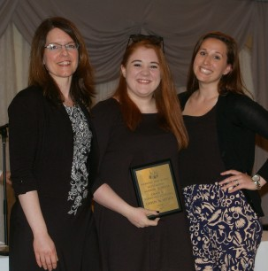 Caitlin McArthur received the Grade 11 Academic Achievement Award in Spanish from Mrs. Palmer and Mrs. Shaughnessy