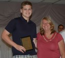 Junior Justin Bowman and Brenda Folsom. Justin got the Grade 11 Physical Education Achievement Award.