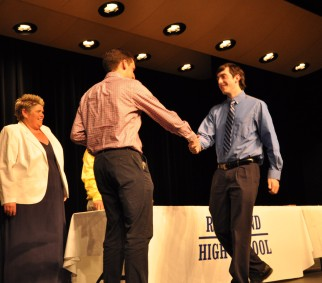 Mr. Finn presents Leo Field with a Foreign Language Acadmeic Achievement Award