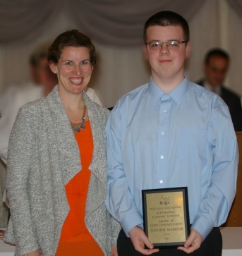 Sophomore Matthew McPartlin received an award in Consumer Science
