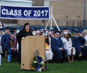 Julia DiCanzio speaks to the Class of 2017. photo by Julian Tarpey