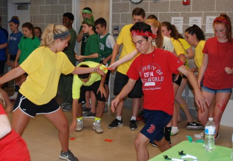 From left, Maddie Gear, Mike Sherlock and Jasmin Morse compete in one of the many activities during Student Government Camp on August 7 - 9 at Rockalnd HIgh School.
