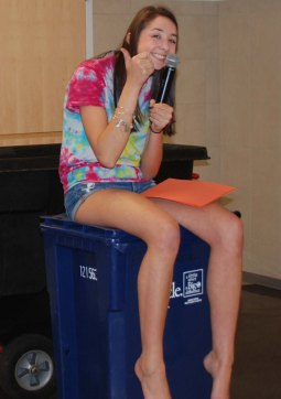 SGC President Hannah Murphy directs one of the activities on August 9 at the SGC camp held at Rockland High School