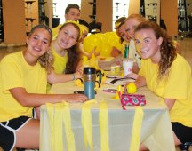 At SGC camp on Wednesday, Aug. 9. The Student Services Committee members prepare for the next activity.