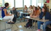 Ms. Rizzotti led a discussion of the novel, A Husband's Secret by Liane Moriarty. Veritas photo.