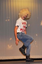 Jake Lauria recreates the dance scene from Napolean Dynamite.