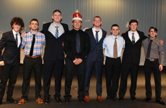 Left to right the contestants after the show: Ronan McNally, Jake Lauria, Aiden Glennon, Lou Casey, Chris Penney, Joe Lauria, Joey Yeadon and Elias Csubak.