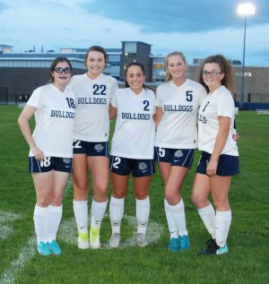 Seniors!!! From left: Erin Field, Hannah Boben, Grace Oliver, Jaymie Atkins and Sydney McKenna