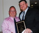 Rockland High School Head Football Coach Nick Liquori presented Hall of Fame plaque to his former teammate Dan O'Brien, Class of 1994. O'Brien played football and basketball for RHS.