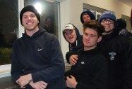 Chris Penney, Matt McGaffigan, Matt Dalton, Liam Lenihan and Jake Lauria in the announcers booth.
