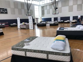 Middle School Gym set up for the Mattress uniforms.