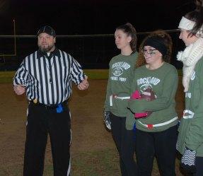 The coin toss with Official Ricci, Erika Ochenduszko, Sydney McKenna and Hannah Murphy