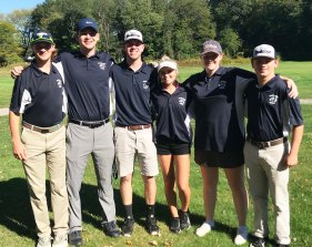 Seniors on the golf team are Eric Wahlstrom, Devin Gallagher, Aiden Glennon, Chris Penney, Sarah Lovell and Eden Dalton. photo by Maddie Gear