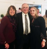 Stephanie Crawford, Class of 2008, with her former coaches, Mal Lannin-Cotton and Tom Bailey. Crawford and Bailey were inducted into the RHS Athletic Hall of Fame.