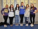 Taylor Pendleton, Meg Saucier, Isabella Sacco, Lexi Murphy, Maddie Cedrone, and Taylor Gallagher also took part in the alumni day at RHS.