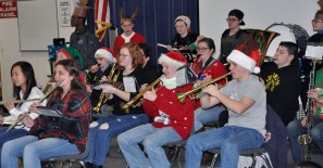 The band plays holiday songs at Memorial Park