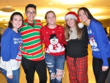 Big 5: Treasurer, Macie Jones, Publicity Coordinator, Francisco Oliveira, Secretary, Jaymie Atkins, Vice President, Jill Donahue, and President, Hannah Murphy all in holiday gear.
