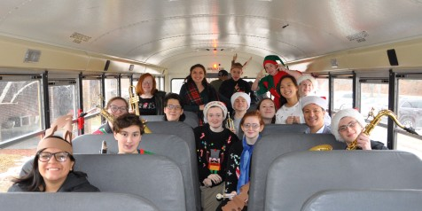 The band on the bus on Friday, Dec. 22.