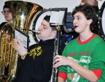 Jordan Cunningham playing the tuba at Esten School.