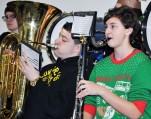 Jordan Cunningham playing the tuba at Esten School.