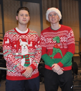Senior class president, Zach Peterson and junior class president, John Ellard decked in holiday gear