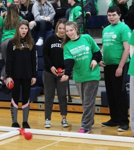RHS Special Olympian Emily Hunt-Grandmont along with Marissa Smith, Brianna Peppino, and Alex Anzivino.